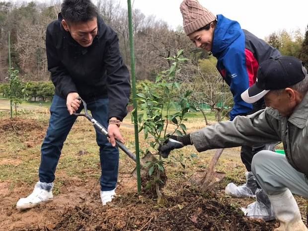 〈WANOWA〉では2019年に売上の2%の一部を使用して、石川県能美市でゆずの苗木40本を植樹。