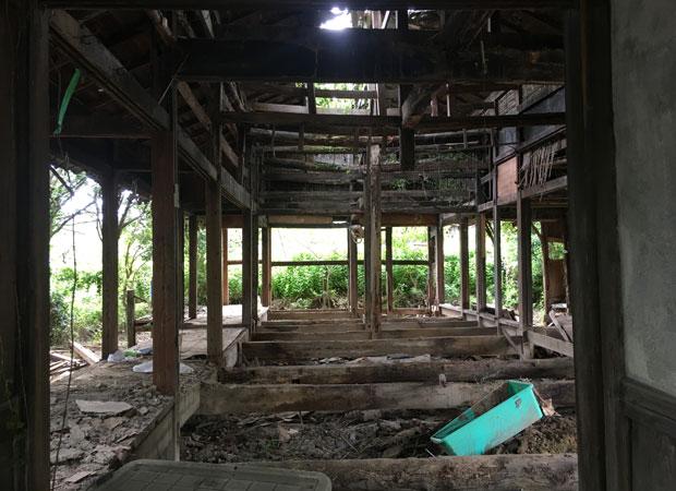 既存の構造体だけ残した状態。この状態になってから、構造体の詳細な寸法を再度採寸し直した。